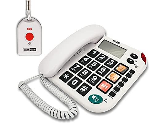 MAXCOM KXT481SOS (G-TELWARE®) Haus-Notruf-Seniorentelefon mit Funk-SOS-Sender, schnurgeb&enes Festnetz-Handy mit 1 Umhängesender, Große Tasten, TAE Stecker, Hörgerätekompatibel