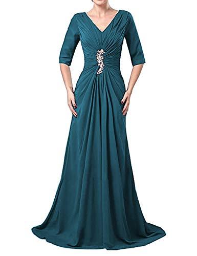 Brautmutterkleider A-Linie Lang V-Ausschnitt Chiffon 1/2 Ärmel Schleppe Hochzeitskleider Abendkleider Ballkleider Festkleider Tintenblau 54