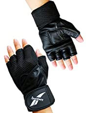 Sports and Fitness Gym Leather Gloves – Weightlifting Wrist Wrap Gloves Leather Black – Easy Grip with Breathable Hole Design Workout Leather Gloves Black
