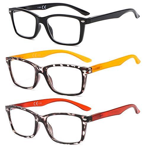 Suertree Confezione da 3 occhiali da lettura Cerniera in piuma Aiuto visivo Occhiali da vista Occhiali da lettura per donna Uomo BM15123 2.0X