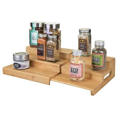 mDesign Especieros con baldas de Madera para armarios de Cocina – Estantería de Cocina Extensible con 3 Pisos para Usar como Organizador de condimentos y ordenar la Cocina – Color Natural