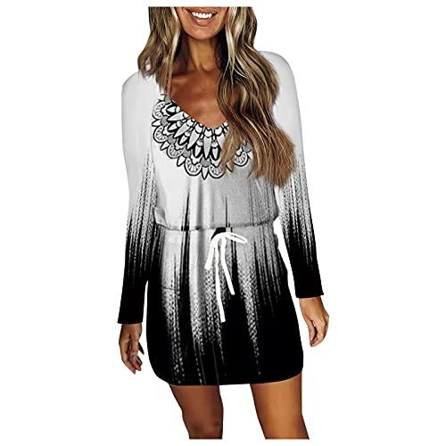 Minikleid Langarm Freizeitkleid Langarm Blusenkleid Damen Kleider Tshirt Winterkleid für Damen V-Ausschnitt Minikleid Lose Tunika Boho Loose...
