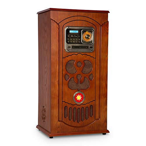 auna Musicbox Jukebox - Retro-Stereoanlage, Musikanlage, Plattenspieler, MP3-fähiger CD-Player,LED-Beleuchtung, Bluetooth, SD, USB, UKW-Tuner, AUX-In, Holz, inkl. Fernbedienung, braun