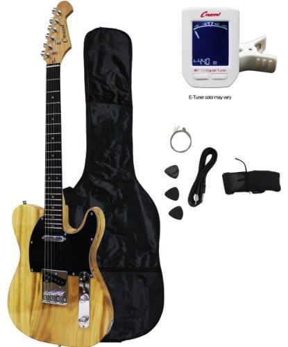 "Crescent Tele Style 39"" Electric Guitar Starter Kit - Natural Finish (Includes Bonus CrescentTM Digital E-Tuner)"
