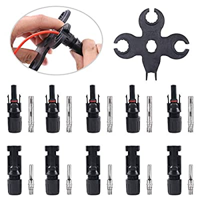 Glarks 5 Pairs Solar Panel Cable Connectors with Assembly and Disassembly Tool Wrenches for Connecting Solar Panels, Solar PV Wire
