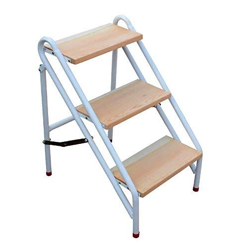 Escabeau Marches Pliantes en Bois Tabouret Ladder Portable 3-Step Escalier Jardinière/étagère de Rangement/Escabeau QIQIDEDIAN