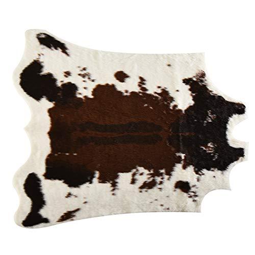 Marbeine Bodenmatte, Kuhfell-Imitat, Teppich für Dekoration Haus, Fell, Teppich für Schlafzimmer, Wohnzimmer, Krippe, Badezimmer, Karpette 110 x 85 cm.