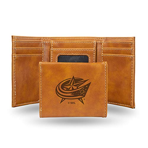 NHL Rico Industries Laser Engraved Trifold Wallet, Columbus Blue Jackets