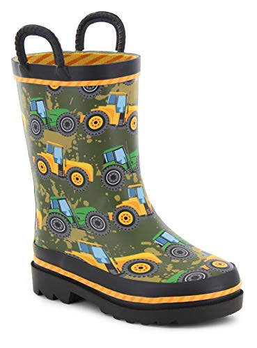 Western Chief Waterproof Printed Rain Boot with Easy Pull On Handles, Tractor Tough, 1 M US Little Kid