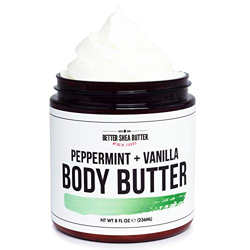 Peppermint Vanilla Whipped Body Butter - Hydrating Cream for Dry Skin...
