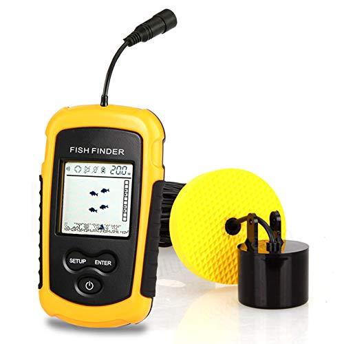 PF Buscador De Pesca con Cable, Equipo De Buscador De Peces De Sonda, Sensor De Sonda De Pesca Portátil para Detección De Profundidad De Peces Submarinos HD con Pantall Yellow-English Version