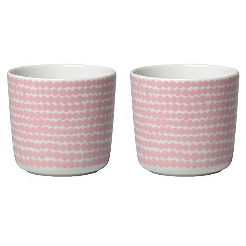 Marimekko - Becher ohne Henkel - Oiva-Siirtolapuutarha - Rosa-Weiß - 200 ml - 2er Set