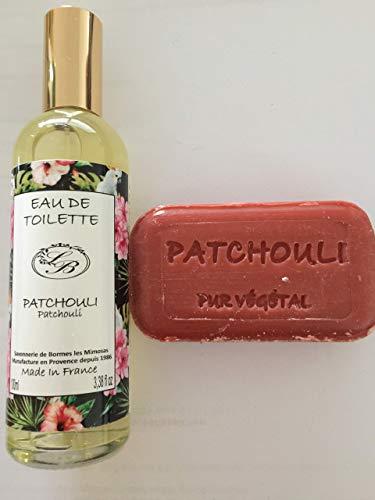 Savonnerie de Bormes: Eau de Toilette Patchouli, 100 ml Flasche mit Zerstäuber (Spray) + 1 Seife zu 100gr.