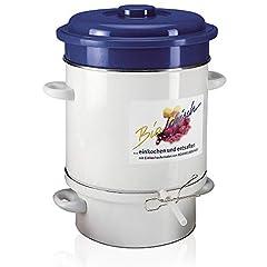 ROMMELSBACHER Ångjuicer EE 1505 – Tillverkad i Tyskland, värmeelement, 2-skikts emalj, juiceuppsamlingstank: 4 liter, fruktkorg, påfyllningsslang/klämma, överhettning/torrgående skydd, 1500 watt