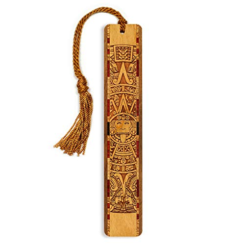 Aztec/Mayan Calendar, Engraved Wooden Bookmark with Tassel - Search B0718SHS5S for Personalized Version