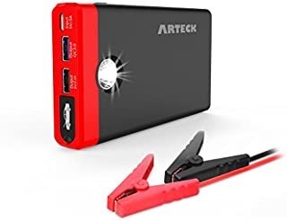 Arteck Car Jump Starter Auto Battery Charger and 12000mAh Quick Charge 3.0 & USB-C External Battery Charger Car Jumper for 12V Automotive, Motorcycle, Boat, Phone with Clamps, 400A Peak 4.0L Gas Max