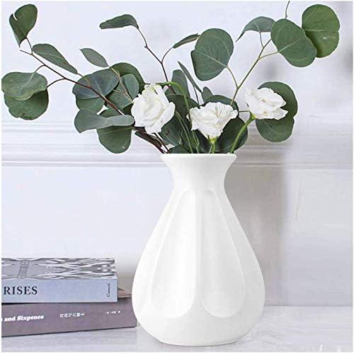 DoubleCare Blanc Vase Decoratif Incassable Vases en Plastique Vase de Fleurs Moderne de Style Minimaliste G 233;om 233;trique pour la D 233;coration PlantesSalonTableMariageMaisonBureau D Blanc