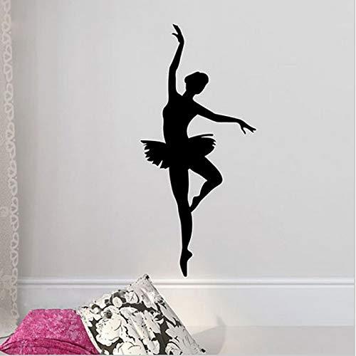Pegatina de pared de bailarina de Ballet, murales artísticos de bailarina, calcomanías de pared, silueta de Ballet, calcomanía de baile para niñas, decoración de dormitorio, A4 42x20cm