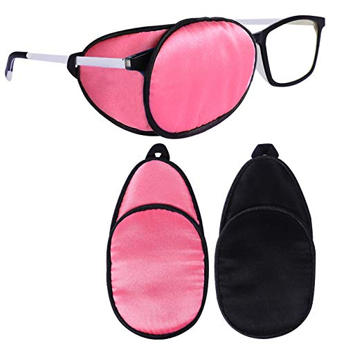eZAKKA Eye Patches for Adults, Eye Patch for Glasses, Silk Patch for Lazy Eye Amblyopia Strabismus and After Surgery (Peach Pink+Black)