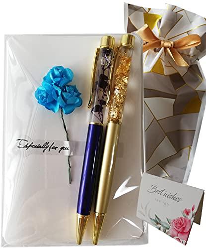 [アップフレーム] ハーバリウム ボールペン ハーバリウムペン 2本セット 高級ボールペン きらきら 金箔ペン 替え芯セット メッセージカード付き かわいい ギフト ラッピング プレゼント 母の日 誕生日 (クリアバッグ入り, ブルー&ゴールド)