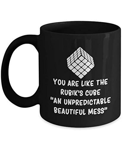 N\A Divertida Taza de café Negro con Cubo de Rubik, Eres como el único e Inspirador Regalo de Sarcasmo de Rubik para el Jugador de Rubik, Hombres, Mujeres