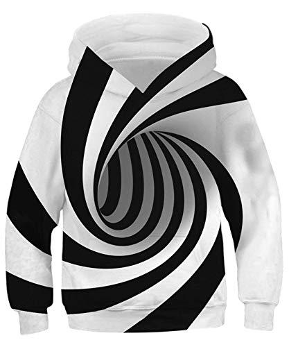 ALISISTER Unisex Hoodies Kinder Jungen Mädchen Lustig Weiß und Schwarz Vortex Kapuzenpullover Pullover 3D Print Langarm Hooded Sweatshirt M