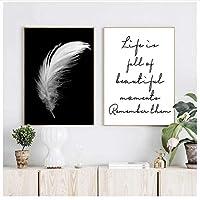 キャンバスの壁画、ポスター、プリントキャンバスの羽の引用絵画壁の芸術リビングルームの白黒写真フレームなし