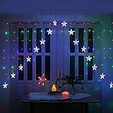 LogIme Stelle Luci LED Curtain Lights Luce natalizia 3m luci di Natale al coperto decorazione della parete Luci esterne del partito Night Lights (bianco caldo) (Color : Color)