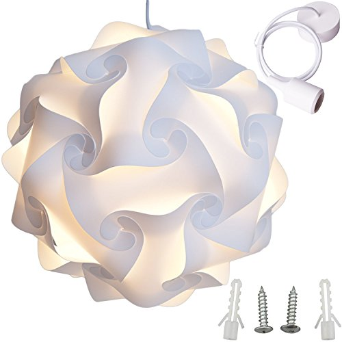Lightingsky Ceiling Pendant DIY IQ Jigsaw Puzzle Lamp Shade Kit with 40 Inch Hanging Cord (White, L- 12 inch)