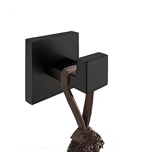 CASEWIND Perchero Gancho Cuadrado Negro para Colgar la Ropa Toalla Bolsos Montado en la pared de Baño Cocina y Puerta, Acero Inoxidable