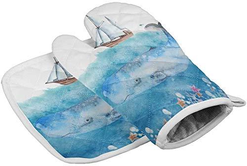 Guantes de horno para ballenas y veleros,almohadillas calientes resistentes al calor con guantes de poliéster antideslizantes para barbacoa para cocina,cocinar,hornear,asar a la parrilla,Ocean Sailin