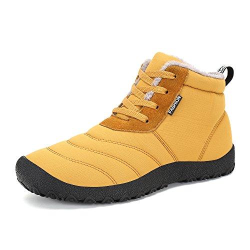 Botas de Nieve Unisex, Popoti Hombre Mujer Botas de Nieve Zapatos Antideslizante Calientes Fur Botines Forradas Cortas Boots Algodón Zapatos Invierno Aire Libre Botines (Amarillo, 37)