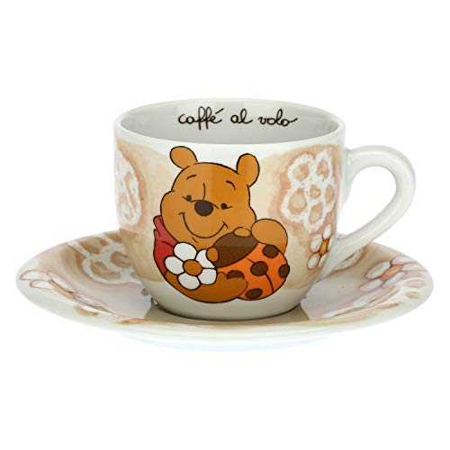 THUN - Taza con mariquita de la suerte - Cocina, tazas café al vuelo - Idea regalo - Línea Disney Winnie the Pooh - Porcelana - Taza 400 ml; Ø 10,5 cm; 8,7 h cm; Plato Ø 18 cm