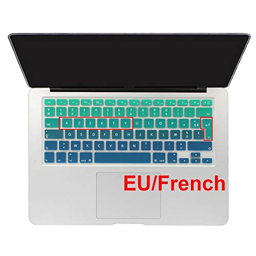 Soft Skin Protector, Euro Spanish English Russia water Dust proof keyboard cover for macbook Old air 13 protector change colors Retina 13 15 CD ROM Waterproof Dust-Proof (Color : EU French Green)