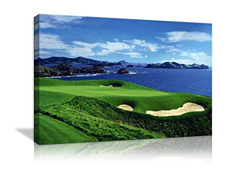 AMEMNY Large Wall Decor for Living Rooms Golf Course Landscape Painting Canvas Print Blue Sky and The Sea Landscape Wall Artwork HD Prints for Home with Framed Stretched Ready to Hang(36''Wx24''H)