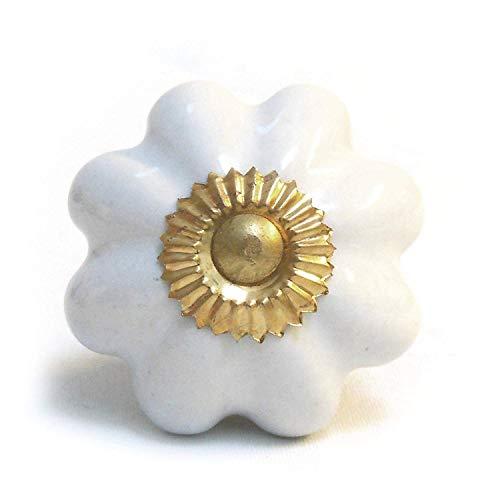 Bombay Duck-Uni-Fleur Bouton de porte en céramique Crème