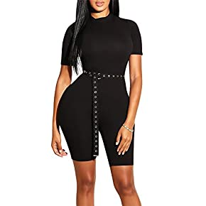 GOBLES Women's Bodycon Rompers Casual Solid Short Sleeve Jumpsuits with Belt