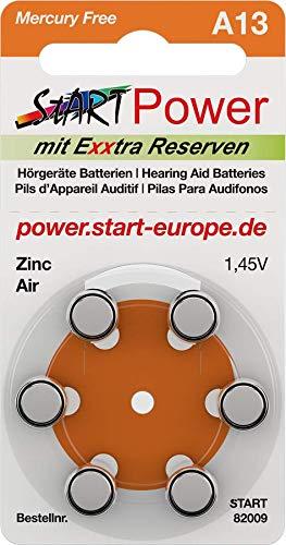 Start - 60 Pezzi Batteria per Apparecchio Acustico Durevole, Tipo - Typ A13-1.45V - 280mAh - PR48