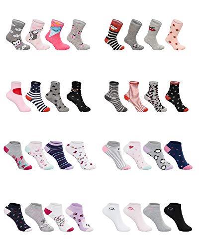SG-WEAR 12 Paar Kindersocken für Mädchen mit hohem Baumwollanteil bunte Kinder Socken in verschiedenen Motiven/Girl Strümpfe in Größe 23-26, 27-30, 31-34, 35-38 / Ganzjahresartikel (Motiv 3, 31-34)