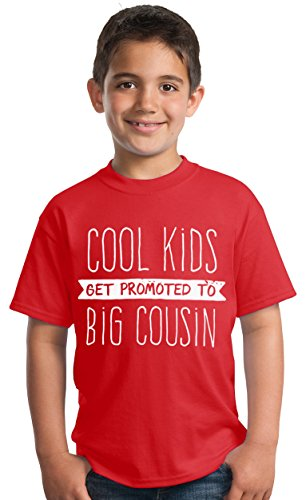 Cool Kids Get Promoted to Big Cousin | New Baby Funny Family Humor Youth T-Shirt-(Toddler, 4T) Red