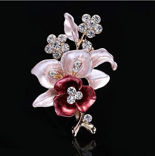 THTHT Elegantes Mujeres Broche Cristal De La Flor Broches Prendedores Broches Románticos para Las Mujeres Banquete De Boda Hijab Alfileres De Novia De Color Rosa