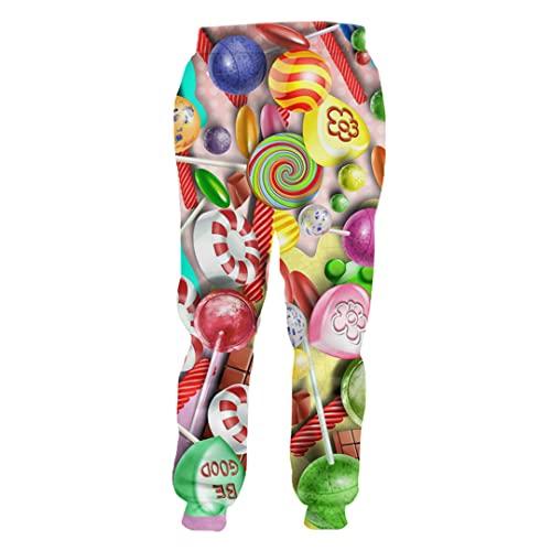 Hombre Colorido Caramelo Pantalones De Los Hombres Ropa Pantalones 3D Impreso Creative Color Lollipop, Caramelos coloridos, 3XL