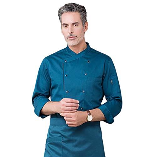 Dooxii Uniforme Chef Cuisinier Unisex Hommes et Femmes Bouton Veste Manteau de Boulangerie Patisserie à Manches Longues (Bleu#2, Asia 3XL)