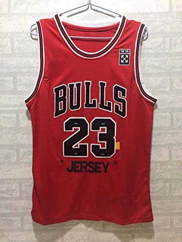 ZJFXSNEH Herren Sportbekleidung NBA-Trikot Chicago Vintage Netzstickerei Basketballtrikot Sportbekleidung 98 Gedenkausgabe rot M.