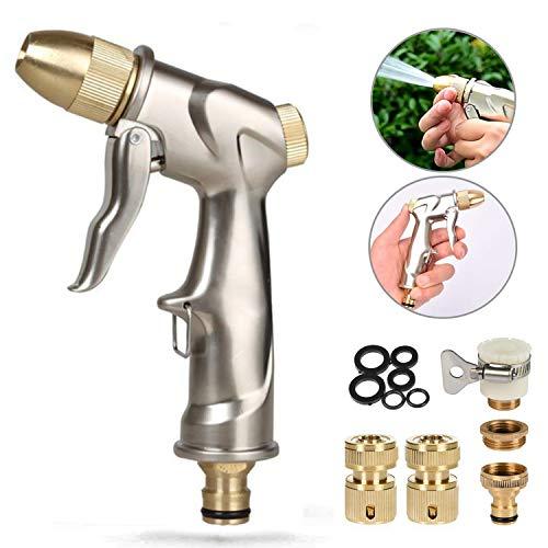 Meiyijia Pistola Spray ad Alta Pressione,100% Metallo,4 modalità di Spruzzo Regolabili,1/2' Ottone Kit di Montaggio TubiFlessibili,per Tubo dell'Acqua, per irrigazione di Superficie del Giardino