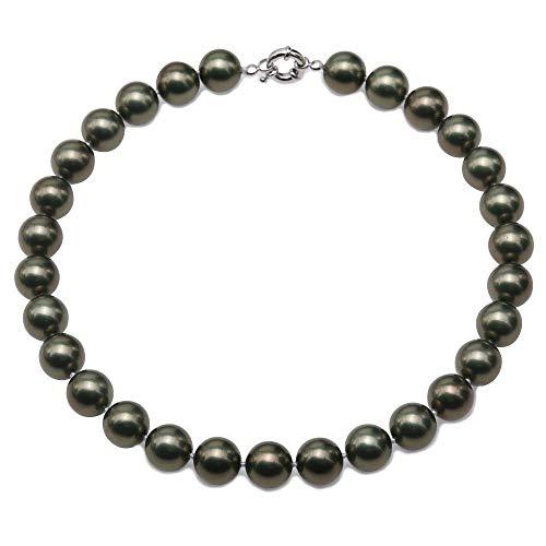 JYX Perlenkette 14 mm Echte Grüne Südseeperle Halskette Runde Perlen Halskette für Frauen 44,5 cm