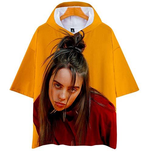 ASDF Camiseta con Capucha Billie Eilish Unisex Ligera Camiseta con Capucha Hip Hop Casual con Bolsillo,A,L