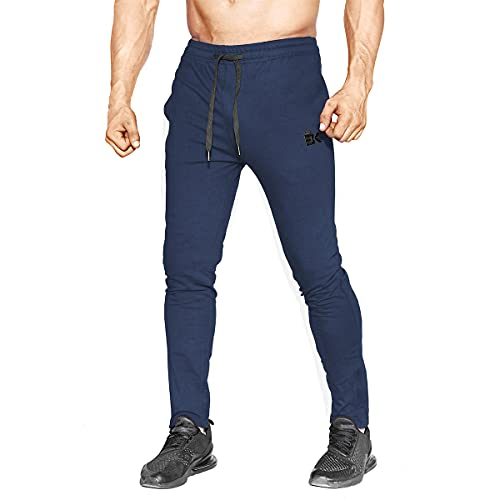 BROKIG Mens Zip Gym Joggers Sweatpants Tracksuit Jogging Bottoms Running Trousers with...