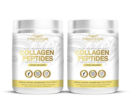 FREZZOR PURE COLLAGEN PEPTIDES Powder Supplement 2-Pack, 100% Grass-Fed New Zealand Cattle Source, Joint Skin Hair & Nail Support, Unflavored, Amino Acids, Anti-Aging, Beauty, Digestion, Pain Solution