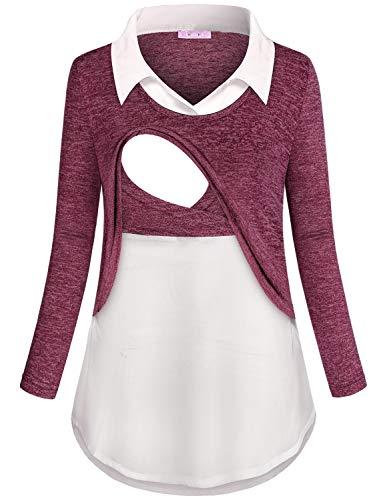 JOYMOM Nursing Tunics to Wear with Leggings,Womens Contrast Collar Long Sleeve...